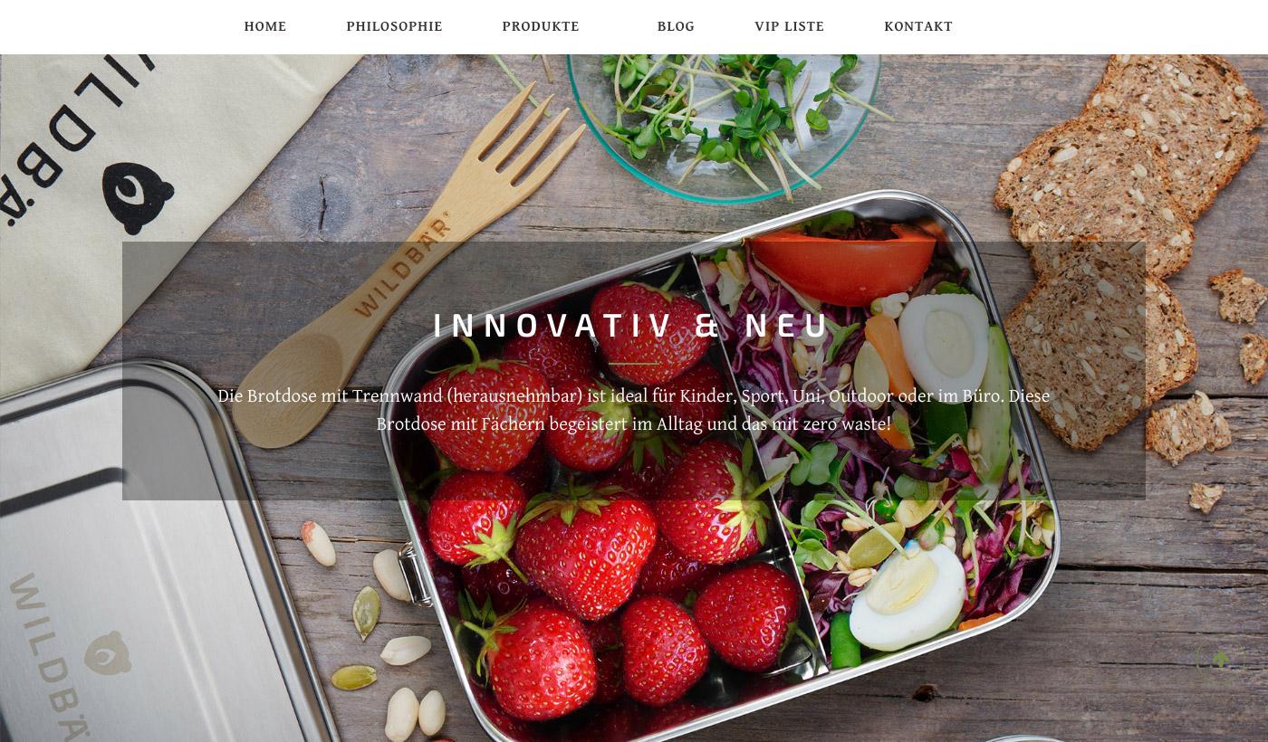 Webdesign - Wildbär nachhaltige Produkte. Bambusgöffel und Brotdose